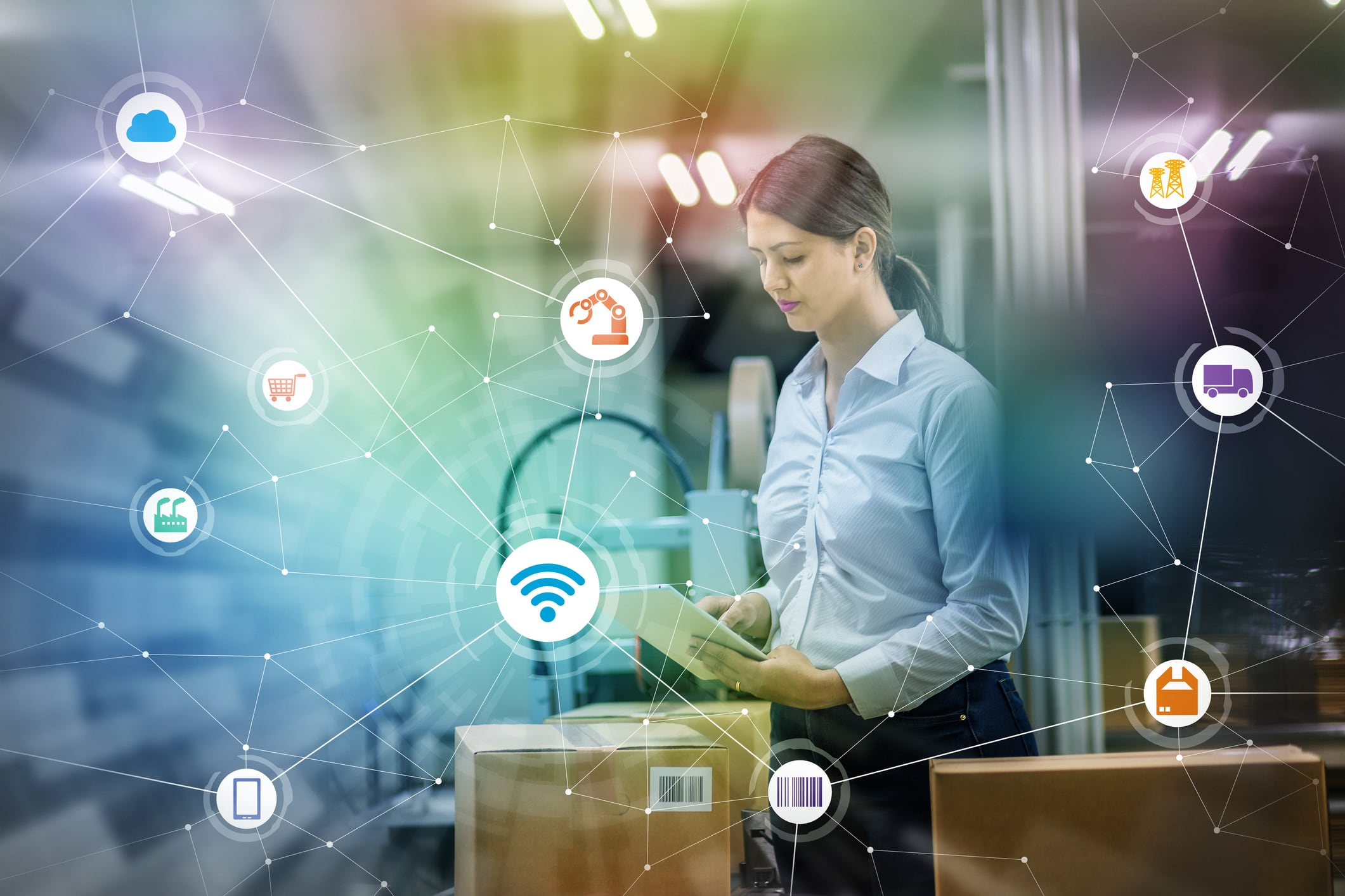 industry and Internet of Things concept. woman working in factory and wireless communication network. Industry4.0.