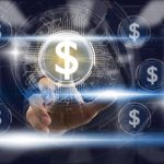 Businessman Finger touching the dollar icon over the light from blurred server room background, Fintech and AI concept