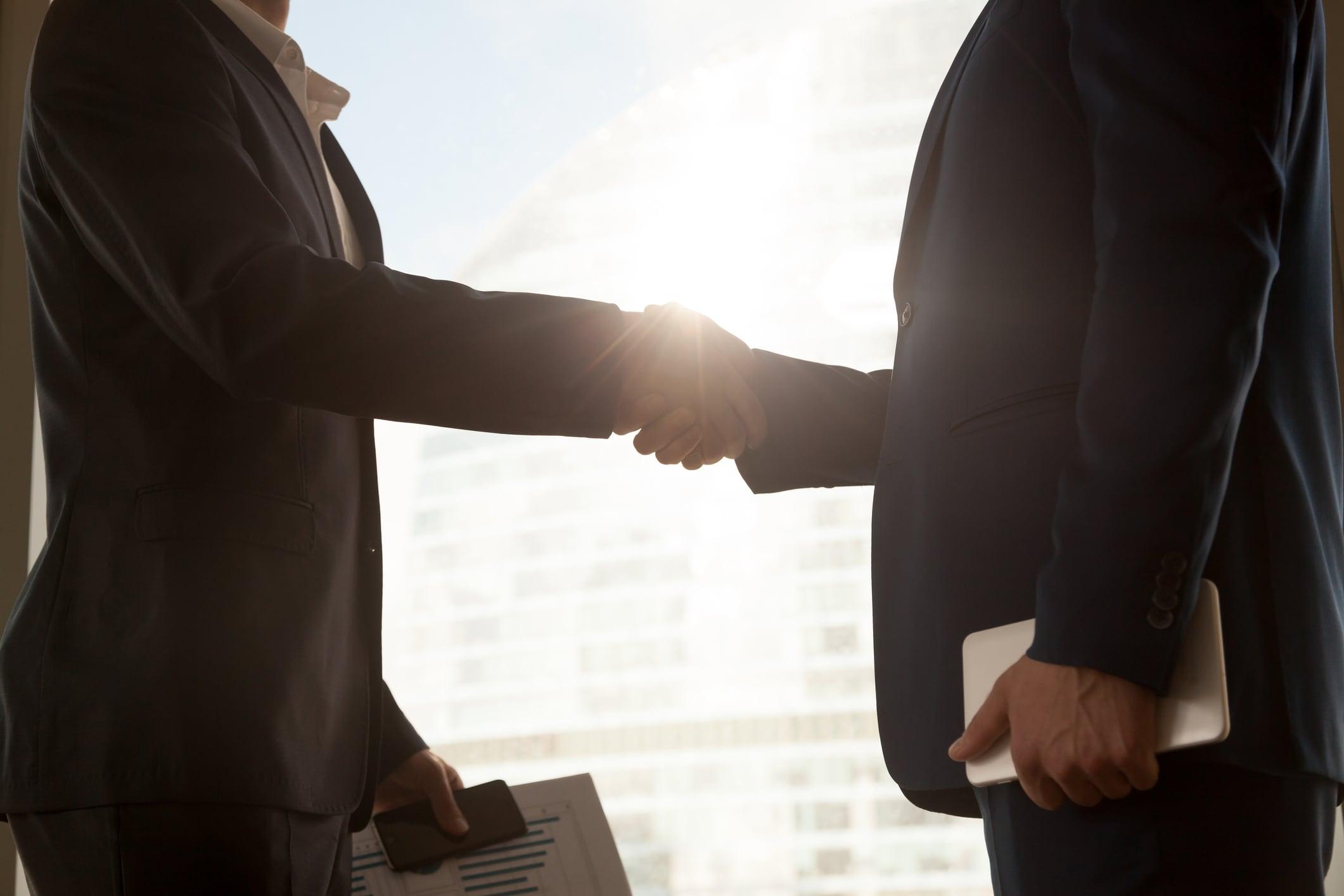 Business handshake, two businessmen shaking hands, partnership concept, close up