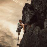 Disabled Man Rock Climbing