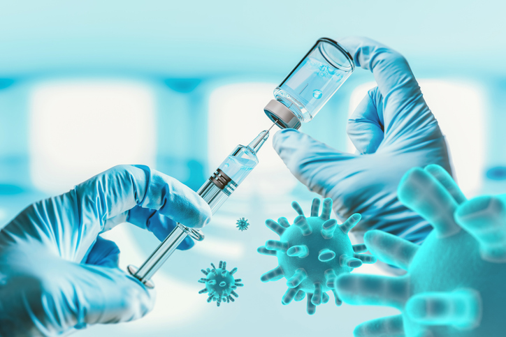 Digital Composite Image Of Cropped Hand Holding Syringe And Vial With Virus