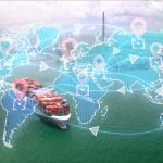 Digital delivery Concept, logistic and transportation technology concept.Global business of Cargo freight.International import export trade