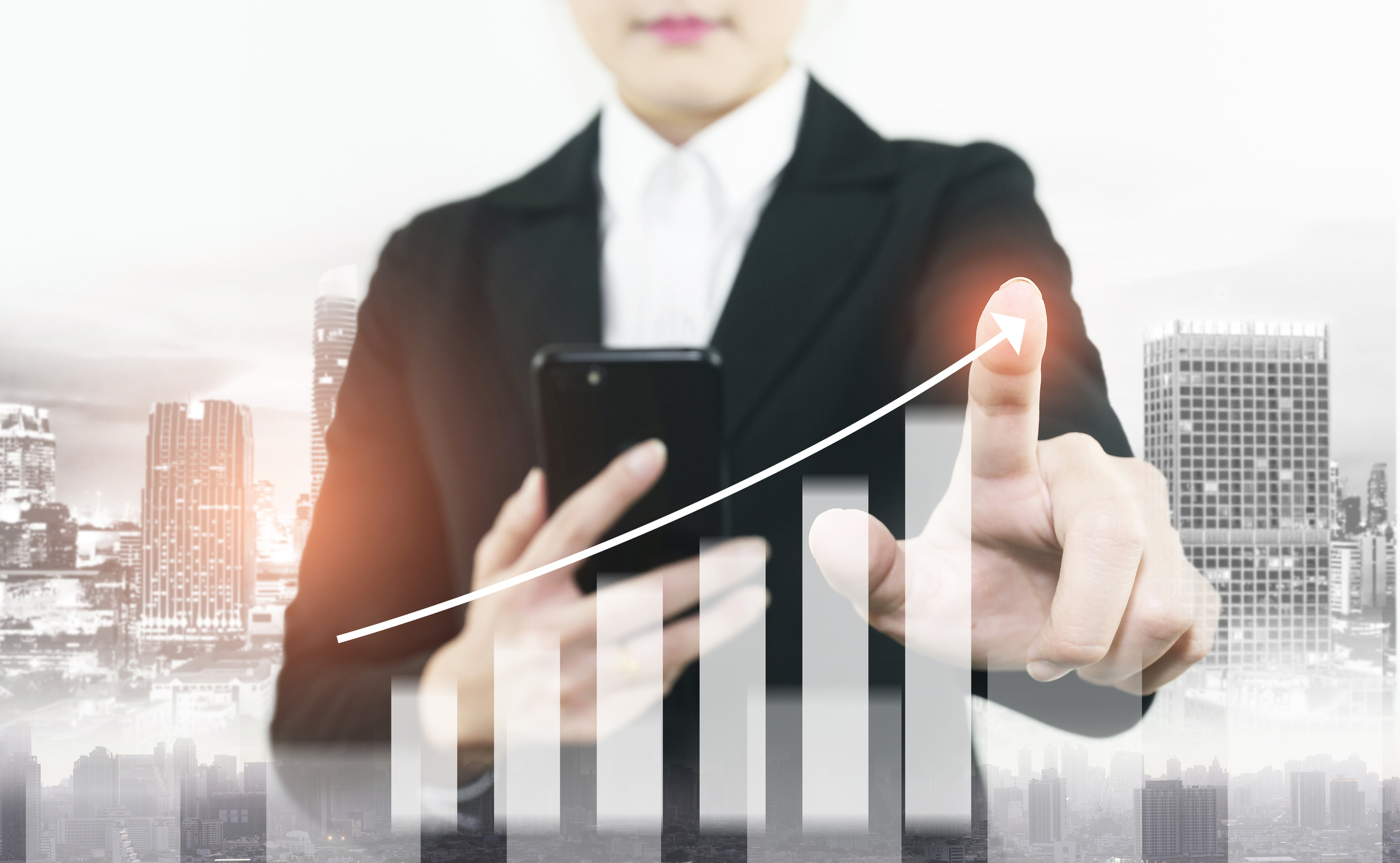 nfo-graphic of business growth double exposure of woman is checking to smart phone to command business stock graph increasing.