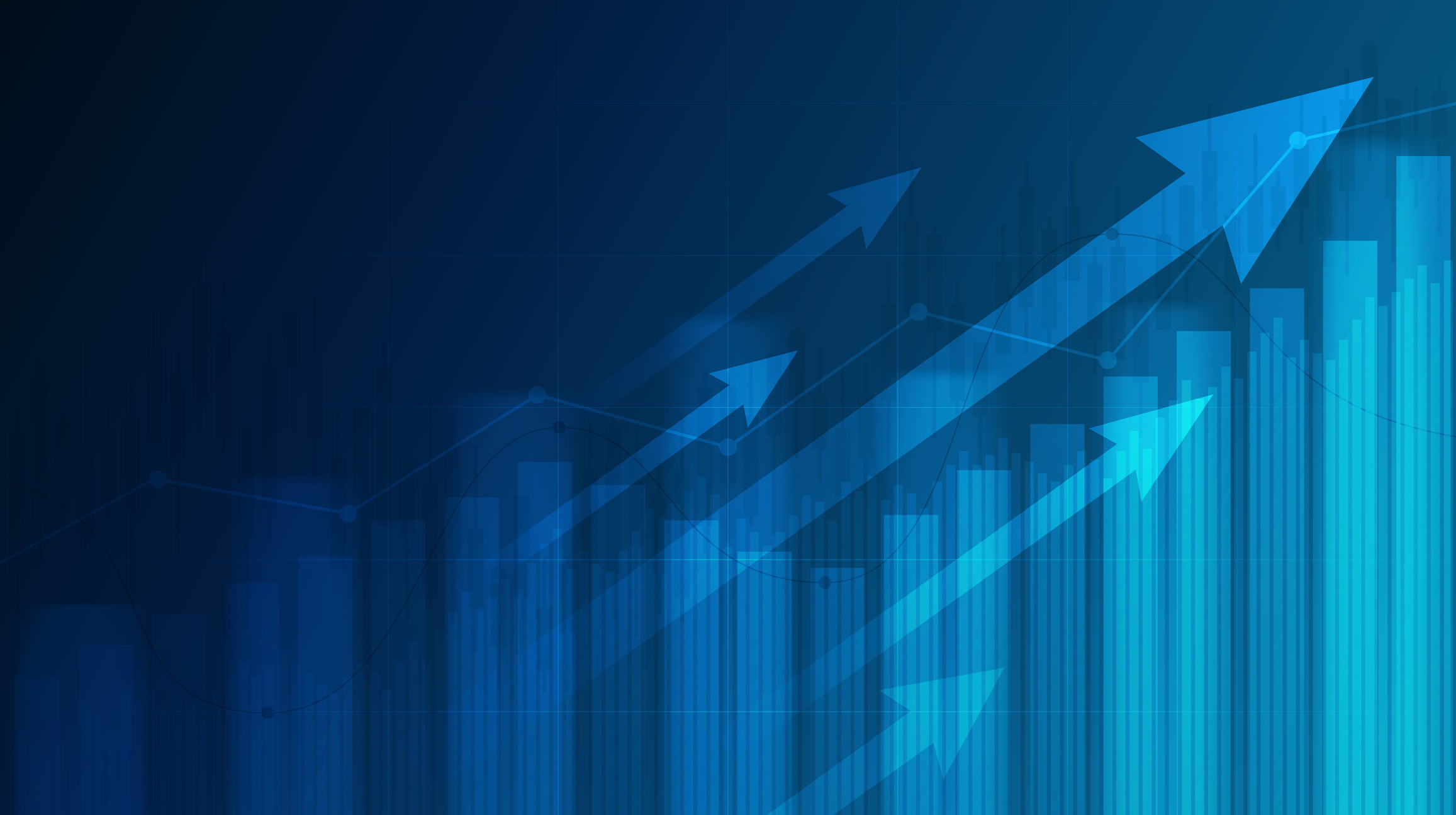 Abstract financial graph with uptrend line and arrows in stock market on blue colour background