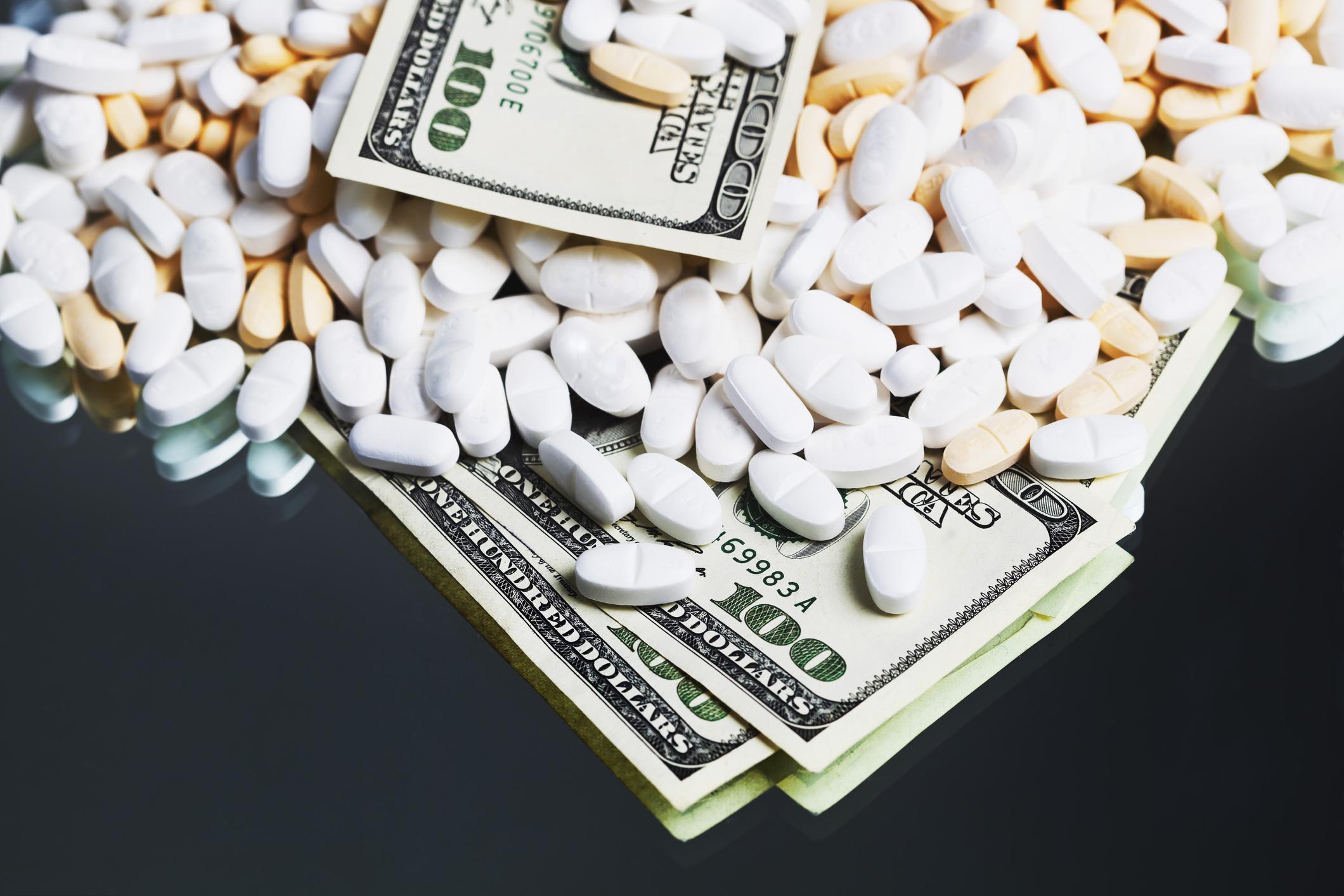 Prescription medication and one hundred dollar bills