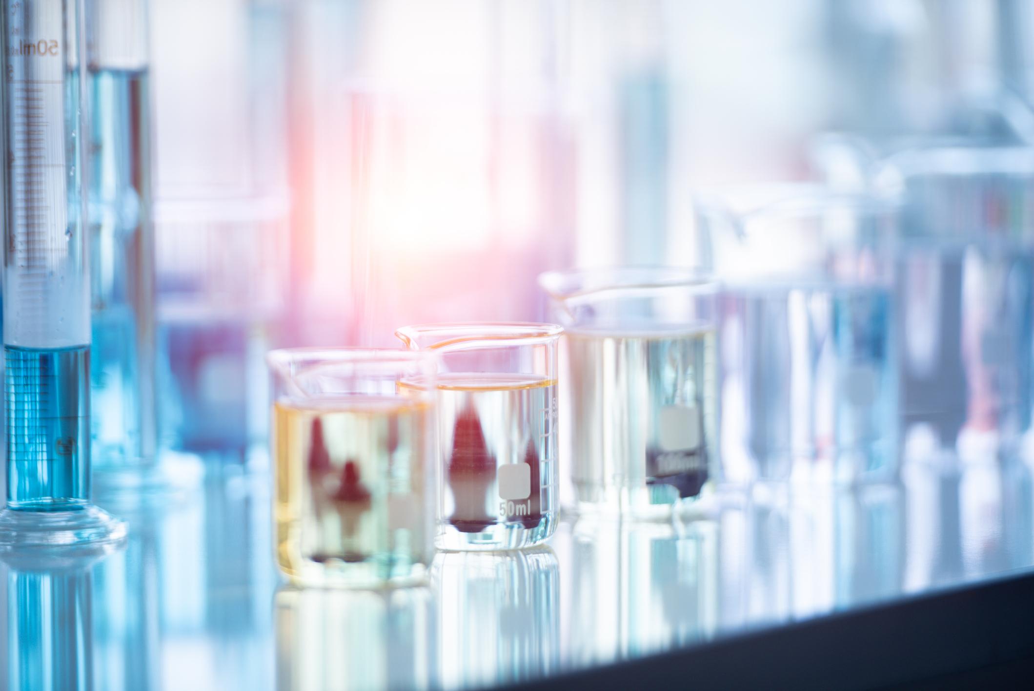 Medical laboratory test tube in chemistry biology lab test.